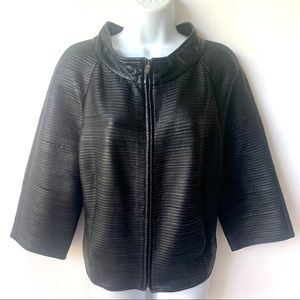 Ellen Tracy Sheared Black Textured Leather  Jacket